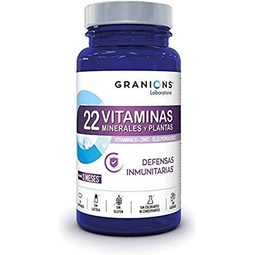 Granions 22 Vitaminas, Minerales, Plantas Inmunitarias, Vitaminas a B C D3 E + Oligoelementos Zinc Magnesio + Ginseng Siberiano, Absorción Optimizada, 90 Comprimidos, Eco 3 Meses, 81 ml