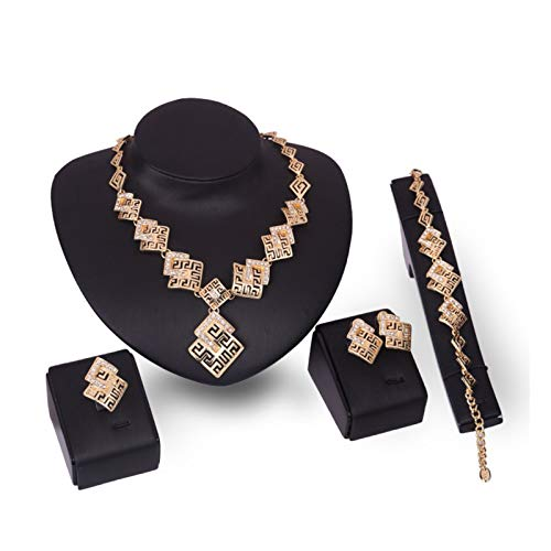 DSJTCH European and American joint chains earbed necklace beads set of gold jewelry four jewelry set Women (Color : One size)