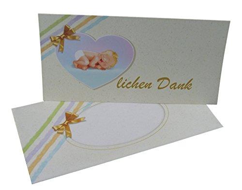 Dankeskarten Baby Set: 12 mal Danke sagen mit den Dankeskarten zur Geburt/Taufe mit Umschlag und zum Foto einstecken geeignet für Junge und Mädchen