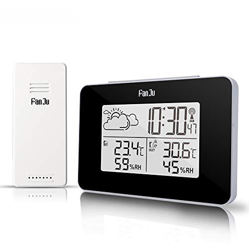 N/A FanJu FJ3364 Digitaler Wecker Wetterstation Funksensor Hygrometer Thermometer Multifunktions-LED Tischuhr