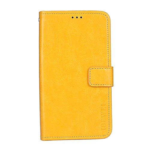 Coque Bluboo S3 Teléfono Case-Faux Leather Flip Wallet con Ranura para Tarjeta para Bluboo S3(Amarillo)