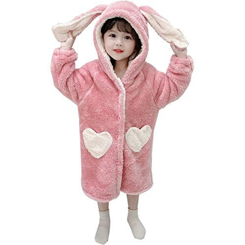 Forêtîle Weiche Baby Mädchen Bademantel mit Herz Tasche Kapuze Bademantel Weiche geknöpfte süße Kaninchen Pyjamas Fleece Bademantel Flanell Geburtstag Weihnachten Winter Geschenk (120)