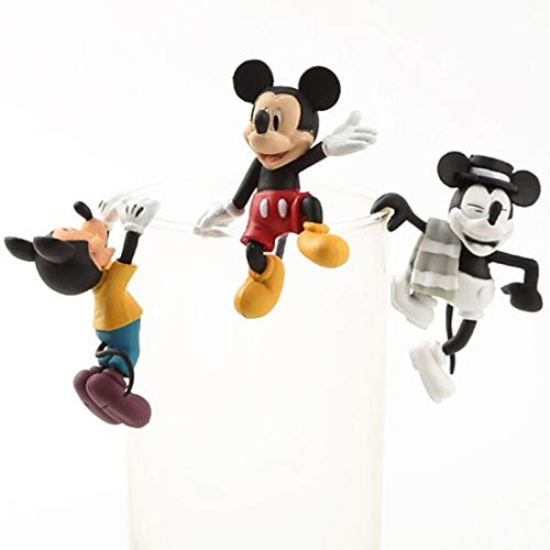 3Pcs/Set Cartoon Action Figure Dolls Toy Mickey Action Toys Figure Model Toys Cup Decoration Gifts for Kids (Color : No retail box)