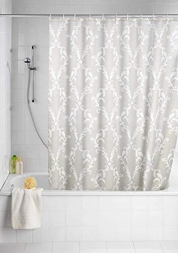 WENKO Anti-Schimmel Duschvorhang Baroque, Duschvorhang mit Antischimmel Effekt fürs Badezimmer, inkl. Ringen zur Befestigung an der Duschstange, waschbar, 100prozent Polyester, 180 x 200 cm, beige/weiß