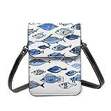 Bolso de hombro pequeño, de acuario, de peces azules, bolsa cruzada para teléfono celular, cartera ligera para mujeres y niñas
