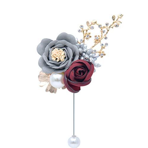 YO-HAPPY Broche de Broche Novio Novia Solapa Flor de Rosa Artificial B