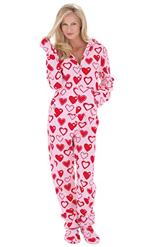 PajamaGram Fleece Onesies for Women - Footed Pajamas for Women, Pink, 3X / 24-26