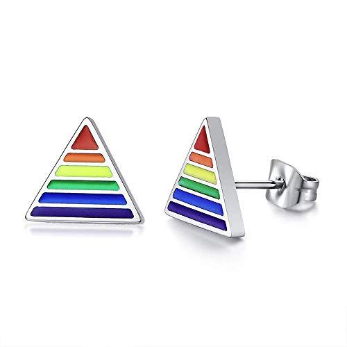 Rainbow Color Gay Lesbian LGBT - Pendientes de tuerca triangulares de acero inoxidable