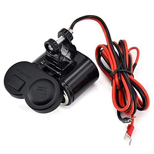 qazwsx Cargador USB eléctrico de Motocicleta con Interruptor, Cargador de Potencia Impermeable USB Socket Kit, Suministro de Cigarrillos de Motocicletas más Ligero (Color : Black)