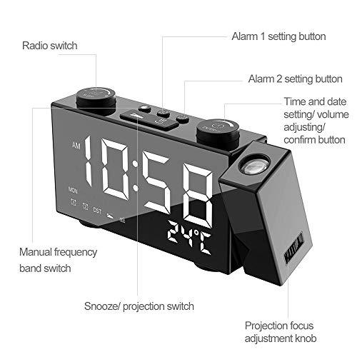 FPRW radiografische wekker met digitale projectie, FM, 3 weergaven, dubbele wekker, thermostaat, USB/batterijen, wit licht