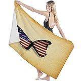 Toalla de Microfibra Secado rápido, Ligera, Absorbente, Suave y grante Yoga, Fitness, Playa, Gimnasio Día de la Bandera Nacional Mariposa de la Bandera Americana 130X80cm