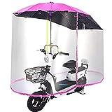 Paraguas de motocicleta, parasol para lluvia, toldo para coche eléctrico, parasol universal para motor y scooter, para movilidad, parasol, para lluvia, con cortina de lluvia completamente cerrada, r