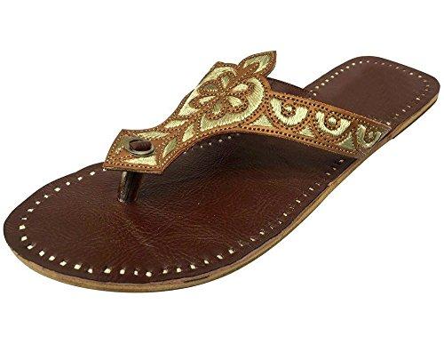 Step n Style Donna Scarpe Piatto Comoda Sandali Kolhapuri Handmade Tradizionale Jutti, Marrone (Brown), 40