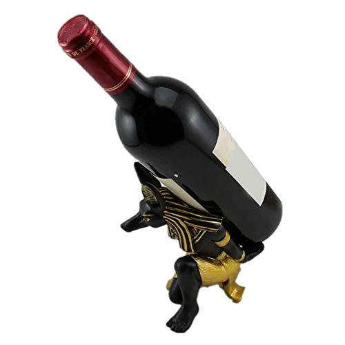 Creative Freestanding Wine Rack Wine Rack Holder Sala de estar Resina Estatuas Estatua Egipto Perro DIOS DIOS DE LA COCINA DE COCINA DE COCINA VINTAGE TABLE DIY Miniatures Decoración del hogar