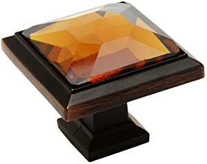"""Cosmas 5883ORB-A Oil Rubbed Bronze Cabinet Hardware Square Knob with Amber Glass - 1-1/4"""" Square - 10 Pack"""