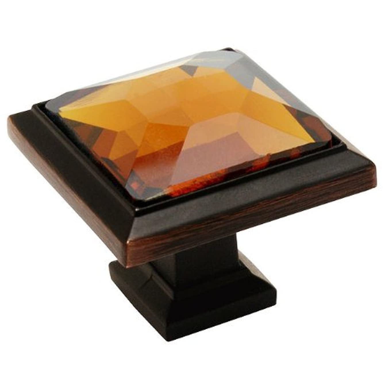 5 Pack - Cosmas 5883ORB-A Oil Rubbed Bronze Cabinet Hardware Square Knob with Amber Glass - 1-1/4