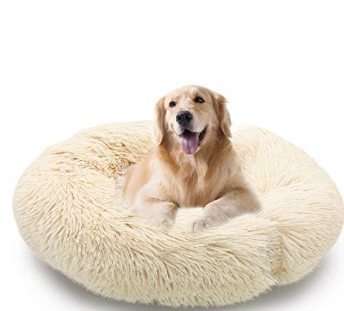 MMTX Donut Lettini per Cani Cuccia per Gatti Cuscino per Cane Divano Materassino Rotondo Letto Peluche Morbido da Animale Domestico per Gatti e Cani Lavabile Fondo Antiscivolo (XL:70cm, Beige)