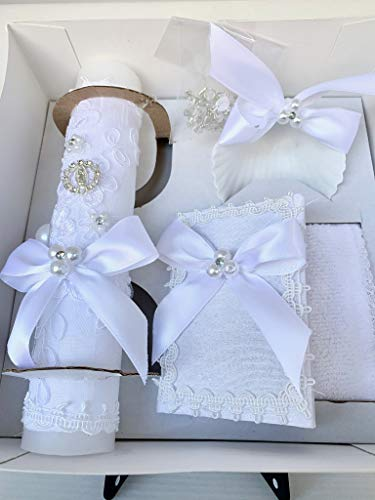 Baptism White Candle Set with Lady of Guadalupe Medal and Pearls Details