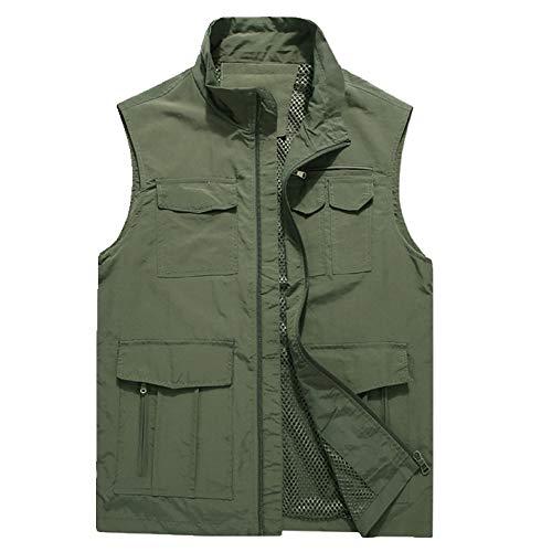Chalecos para hombre de verano sin mangas Chaleco de la chaqueta de la chaqueta de múltiples bolsillos casuales al aire libre viajes delgado chaleco ropa exterior masculina
