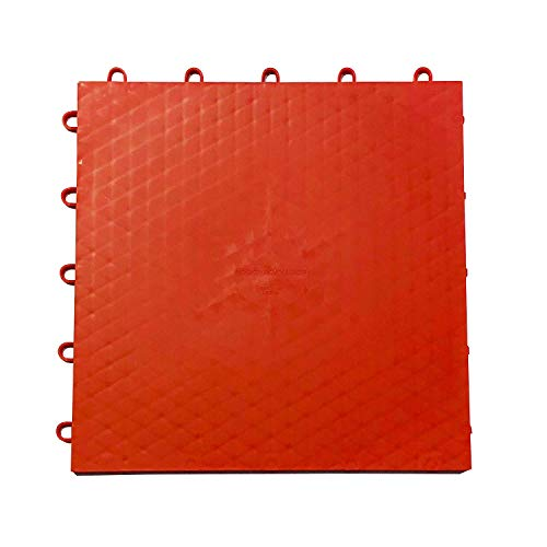 Indoor/Outdoor High Durability Interlocking Removable Sports Flooring Surface Tiles (21 Sq Ft / 2 m2 (18 Tiles) (RED)