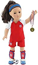 Emily Rose 18 Inch Doll Clothes | World Cup USA 8 Piece Doll Soccer Uniform, Including Soccer Shoes/Cleats and Realistic Medal! | Perfect Halloween Costume |Fits American Girl