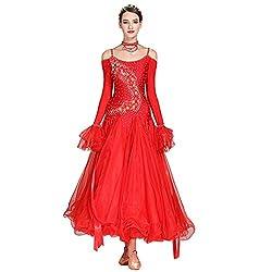 Red Long-Sleeved V-Neck Standard Dance Dress