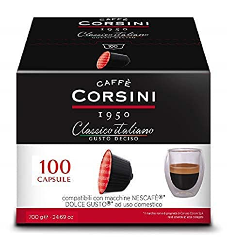Caffè Corsini - Classico Italiano Miscela di Caffè in Capsule Compatibili Nescafè DolceGusto, Gusto Forte e Deciso - Confezione da 100 capsule
