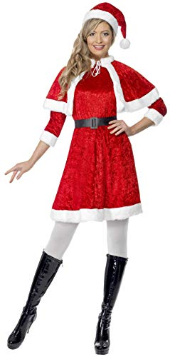 Smiffys, Damen Weihnachtsfrau Kostüm, Kleid, Cape, Mütze und Gürtel, Größe: M, 29005