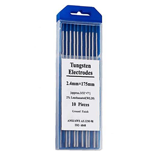 DierCosy Los electrodos de Soldadura de tungsteno WL20 Principal Azul del lantano electrodos de tungsteno de 2,4 x 175 mm de tungsteno Varilla 10-Pack