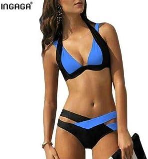 ODCOLTD Fashion Women Sexy Bikini Cross Bandage Beach Bathing Suit Navy Blue