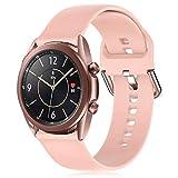 RIOROO 20mm Correa Compatible para Samsung Galaxy Watch 3 41mm / Active / Active 2 40mm 44mm Correa Mujer Hombre Sport Silicona Band Rosa, Accesorios (sin Reloj), S