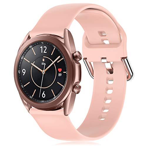 RIOROO 20mm Correa Compatible para Samsung Galaxy Watch 3 41mm / Active / Active 2 40mm 44mm Correa Mujer Hombre Sport Silicona Band Rosa, Accesorios (sin Reloj), L