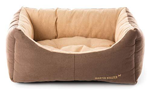 Martin-Sellier - Corbeille domino pour chien - Suédine taupe & crème (50cm x 38cm)