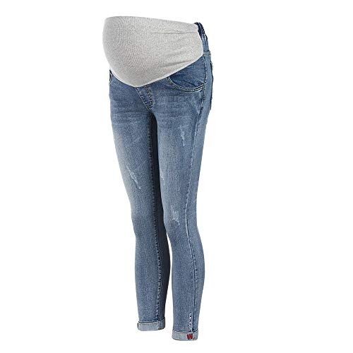 Kobiety moda ciążowa dżinsy dla kobiet festiwal proste moda ciążowa legginsy ciążowe dżinsy ciążowe spodnie ciążowe z rozciągliwym paskiem spodnie slim fit szorty ciążowe, Hellblau, XL