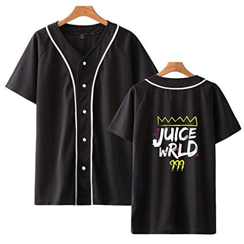 Flyself Unisex Juice Wrld 999 Baseball T-Shirt Sommer Kurzarm Bedrucken V-Ausschnitt Button Down Sport-T-Shirt Baseball Jersey Shirts