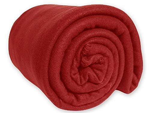 Soleil d'Ocre 510051 Couverture Polaire Polyester Rouge 180 x 220 cm