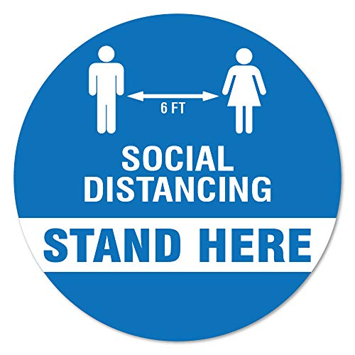 SignMission Coronavirus Stand Here Social Distancing Non-Slip Floor Graphic 12 Pack of 11' Vinyl Decal Protect Your Business, Work Place & Customers Made in The USA (FD-C-11-12PK-99983)