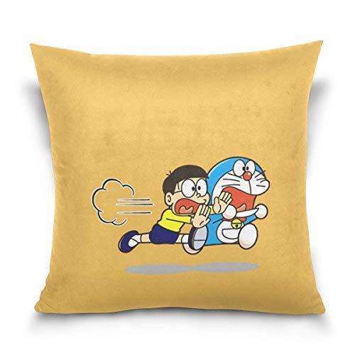 tour Cartoon Anime Cute Doraemon Cotton Velvet Soft Decorative Square Pillowcase Cushion Cushion Pillowcase Home Decoration Sofa Sofa Bed Chair Fundas para Almohada 26x26Inch(65cmx65cm)
