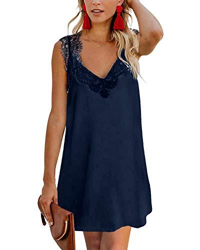 YOINS Sommerkleid Damen Kurze Elegant Strandkleid Schulterfrei Blumenmuster Sexy Kleid Ärmellos Minikleider Lace-dunkelblau XXL