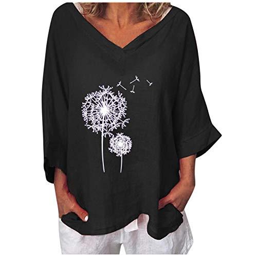 Dasongff Tops Mujer Blusa de lino Camisa larga 3/4 Jersey de manga larga para mujer con estampado floral suelto cuello en V Camisetas Elegante Túnica Tops Camisa Verano