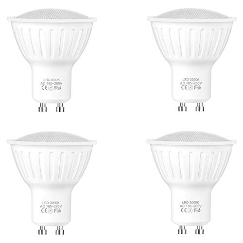 WELLHOME Bombilla LED regulable GU10, luz blanca cálida, 5 W equivalentes a 50 W, 3000 K, 120°, 500 lúmenes, 230 V, 4 unidades