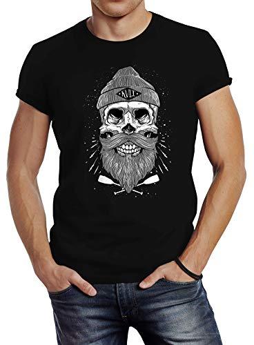 Neverless Herren T-Shirt Captain Skull Beard Totenkopf Bart Kapitän Slim Fit schwarz XL
