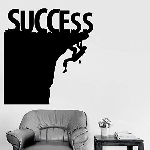 WERWN Calcomanías de Pared de Escalada en Roca Letras de éxito decoración de Interiores de Oficina inspiradora Pegatinas de Pared de Vinilo Trabajo Duro Arte Mural