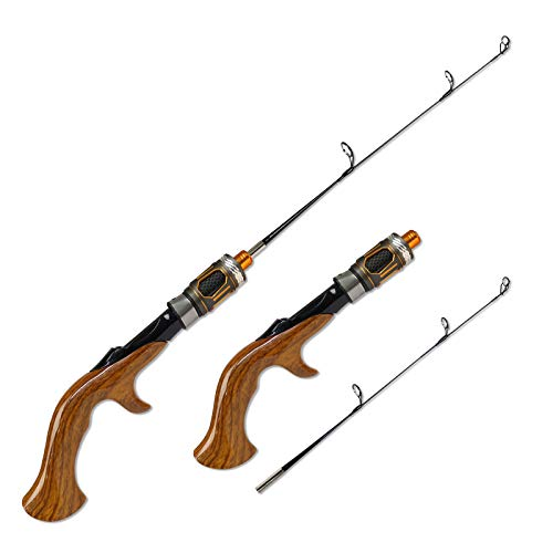 Fiblink 2-Piece Portable Travel Ice Fishing Rod 21 Inches Light Power Spinning/Casting Ice Pole (Casting-21-Light)