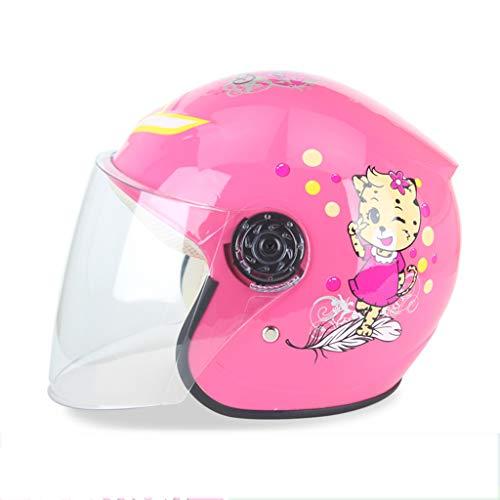 Otoño de los niños del niño del bebé del casco de dibujos animados y la batería de coche de invierno del casco de Niños y Niñas de la motocicleta eléctrica con el Escudo Clear Face (50-53CM),Rosado