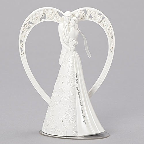 Love Fulfills Dancing Couple in Heart 8.5 x 6 Resin Stone Decorative Cake Topper