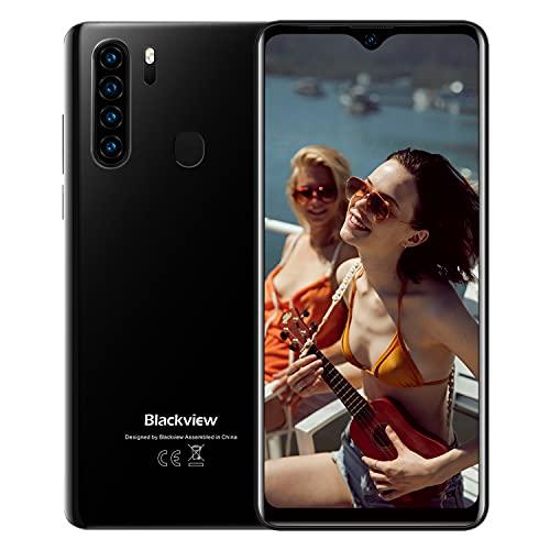 Blackview A80 Plus[2021],Teléfono Móvil Libres 4G,6.49  HD+ Water-Drop Screen,Helio P25 Octa-Core 4GB+64GB Smartphone,13MP Cuádruple Cámara,4680 mAh,Android 10, Dual SIM,NFC,Face ID,Huella Dactilar