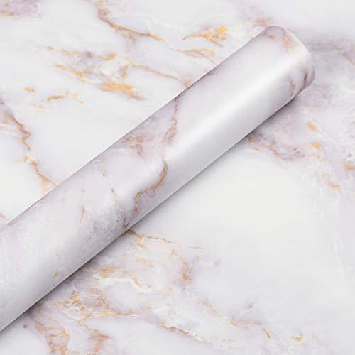 Livelynine Marmor Folie Gold Selbstklebend Klebefolie Marmor Gold Weiß Folie für Möbel Schminktisch Tisch Holz Fensterbank Küchenwand Folie Arbeitsplatte Küche Folierung Möbelfolie Marmor 40CMX2M