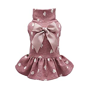 Fitwarm Pet Clothes for Dog Dresses Puppy Turtleneck Dress Doggie Outfits Birthday Party Costumes Pink XXS