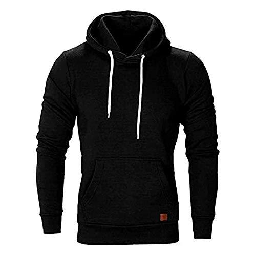 SELENECHEN Herren Sweatshirt Kapuzenpullover Sweatjacke Pullover Hoodie Sweat Hoody Sweatshirt Herren Pullover (Schwarz, L)